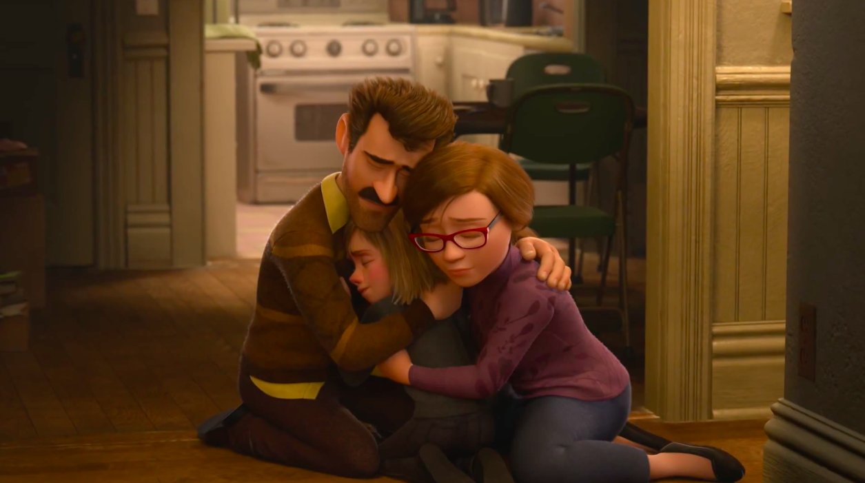 Inside Out Riley parents hugging
